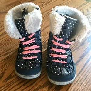 ✨CARTER'S Navy Faux Fur Polka Dot Snow ❄️ Boots 👢